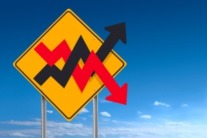 Up and Down Unstable Graph Financial Market Road Sign Post